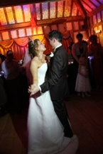 Essex wedding disco, bride and bridegrooms first dance